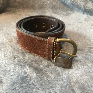Brown suede COACH belt